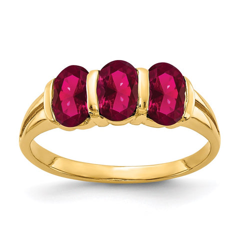 6x4mm Oval Created Three Stones Ruby Ring in 14k Yellow Gold