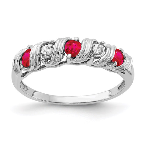 14k White Gold 2.75mm Ruby Natural Diamond Ring