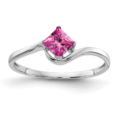 14k White Gold 4mm Princess Cut Pink Sapphire Ring