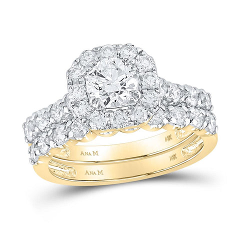 2 CTW-DIA 3 / 4CT-CRD BLISS CONJUNTOS DE NOVIA SINGLE HALO