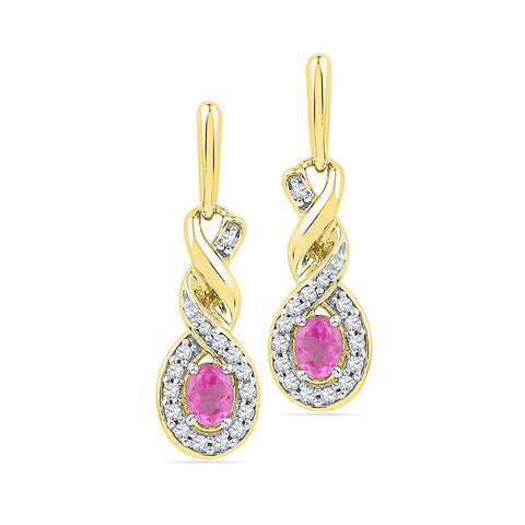 10k Yellow Gold Oval Created Pink Sapphire Twist Dangle Earrings 5/8 Cttw