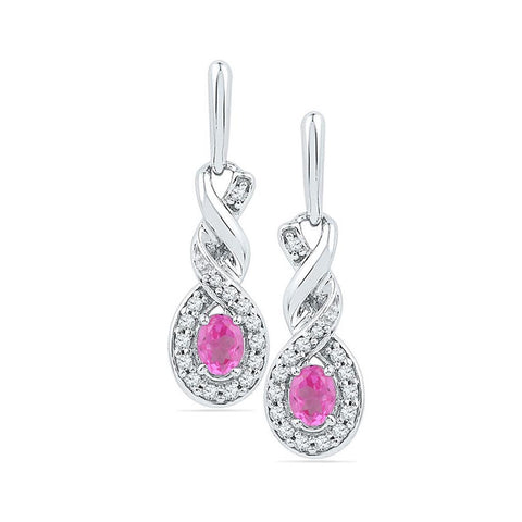 10k White Gold Oval Created Pink Sapphire Twist Dangle Earrings 5/8 Cttw