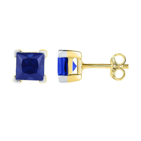 10k Yellow Gold Princess Created Blue Sapphire Solitaire Earrings 2 Cttw