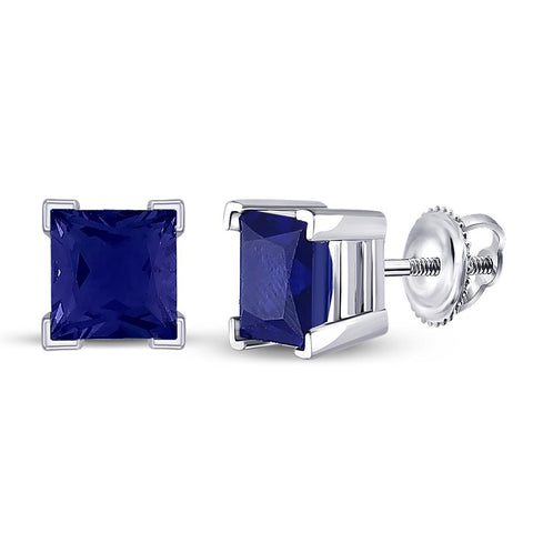 10k White Gold Princess Created Blue Sapphire Solitaire Stud Earrings 2 Cttw