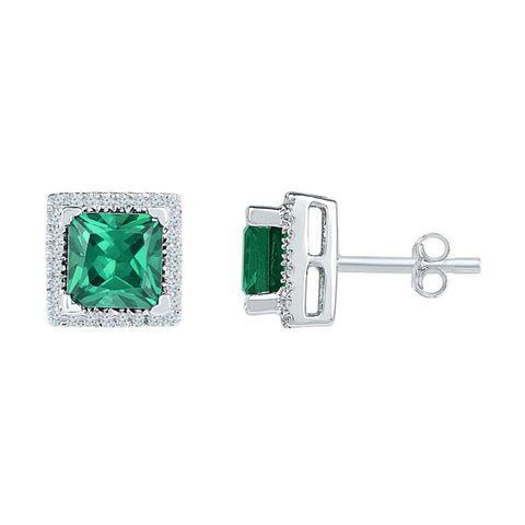 10k White Gold Princess Created Emerald Solitaire Stud Earrings 1-3/4 Cttw