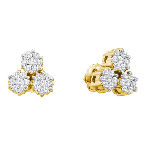 1 CT-Diamond 3-BLUMEN-OHRRINGE
