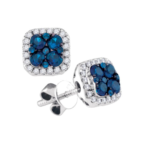 14k White Gold Round Blue Sapphire Square Cluster Diamond Earrings 3/4 Cttw