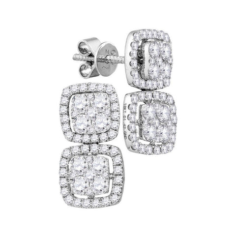 18k White Gold Round Diamond Convertible Square Dangle Jacket Earrings 1-3/8 Cttw