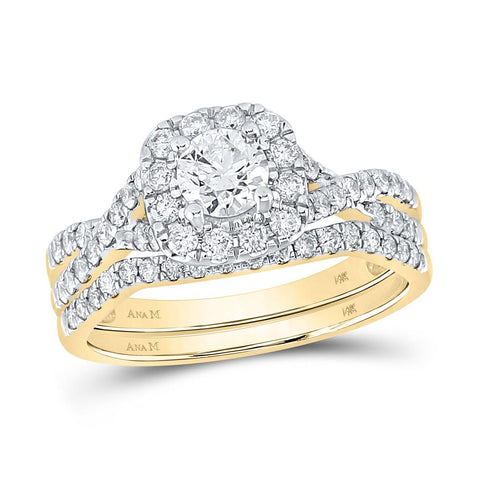 14k Yellow Gold Round Diamond Halo Twist Bridal Wedding Ring Set 1 Cttw (Certified)
