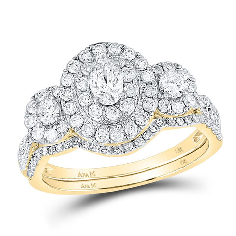 1 CT-DIA 1 / 5CT-OVAL BLISS BRIDAL SETS DOUBLE HALO