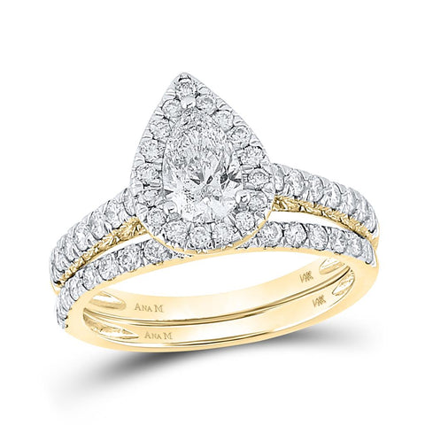 14k Yellow Gold Pear Diamond Halo Bridal Wedding Ring Set 1-1/2 Cttw (Certified)