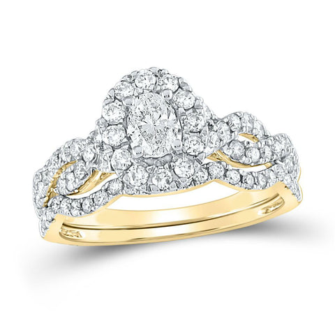 Certified 1.0 Ct. Oval Diamond Infinity Halo Style Bridal Engagement Ring Set in 14K Yellow Gold