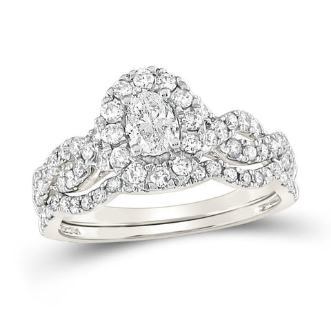 Certified 1.0 Ct. Oval Diamond Infinity Halo Style Bridal Engagement Ring Set in 14K White Gold