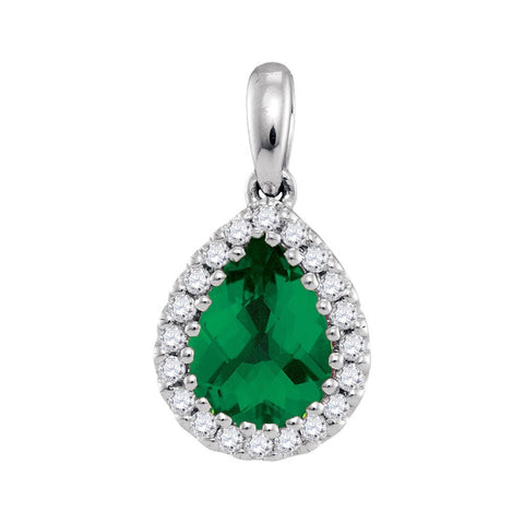 14k White Gold Pear Emerald Solitaire Green Pendant 1 Cttw