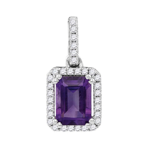 14k White Gold Emerald Amethyst Solitaire Pendant 1 Cttw