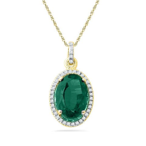 10k Yellow Gold Oval Created Emerald Fashion Pendant 5-1/2 Cttw