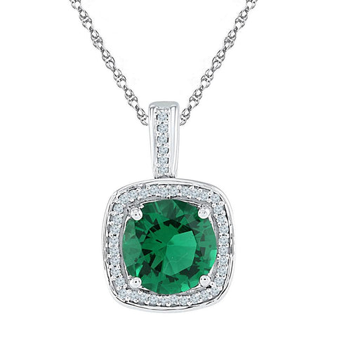 10k White Gold Round Created Emerald Solitaire Pendant 4 Cttw
