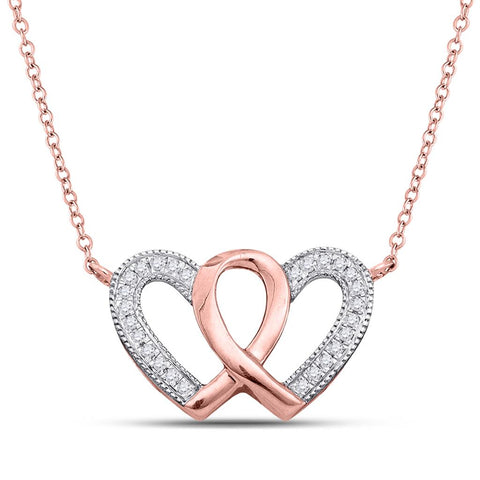 10 Karat Roségold Diamant Double Heart Awareness Ribbon Anhänger Halskette 1/10 Cttw