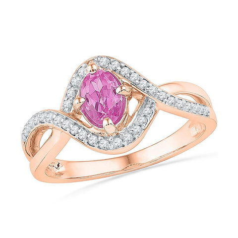 10k Rose Gold Oval Created Pink Sapphire Solitaire Twist Ring 1/2 Cttw