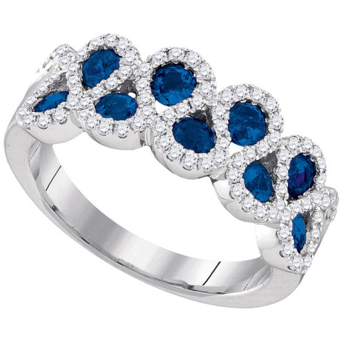 14k White Gold Round Blue Sapphire Diamond Band Ring 1-1/3 Cttw