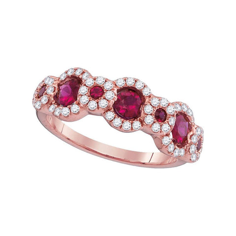 18k Rose Gold Round Ruby 3-Stone Anniversary Ring 1 Cttw