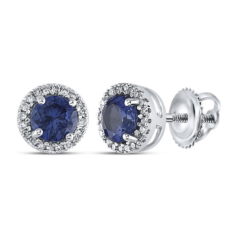 Sterling Silver Round Created Blue Sapphire Stud Earrings 1-1/2 Cttw