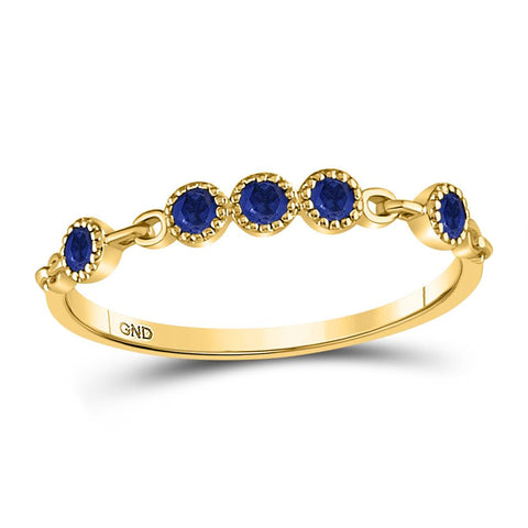 10kt Yellow Gold Round Blue Sapphire Dot Stackable Band Ring 1/5 Cttw