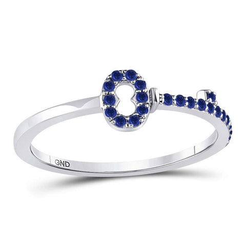 10kt White Gold Round Blue Sapphire Key Stackable Band Ring 1/5 Cttw