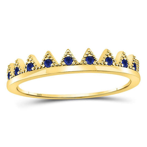 10kt Yellow Gold Round Blue Sapphire Chevron Stackable Band Ring 1/10 Cttw