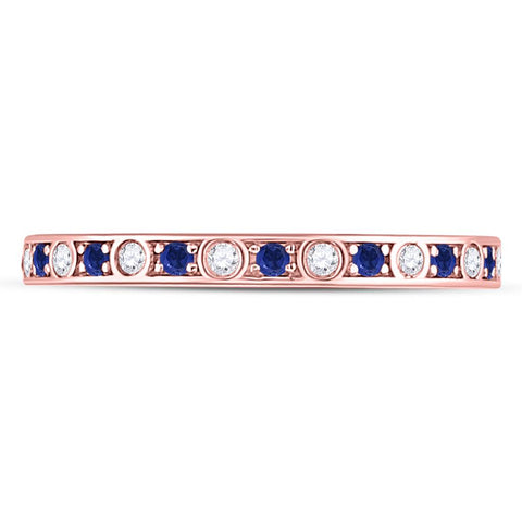 10k Rose Gold Round Blue Sapphire Diamond Stackable Band Ring 1/4 Cttw