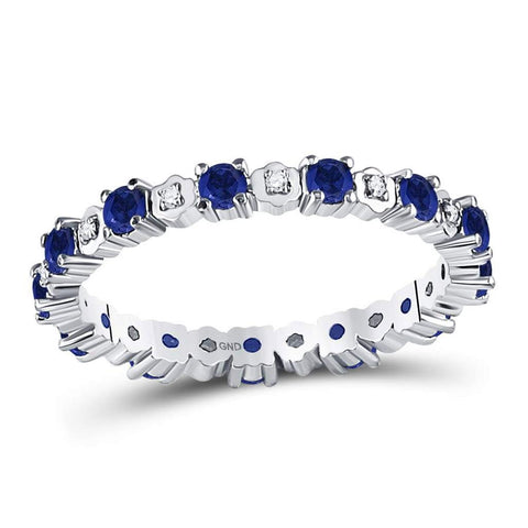 10kt White Gold Round Blue Sapphire Diamond Eternity Band Ring 1 Cttw