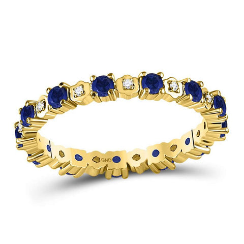10kt Yellow Gold Round Blue Sapphire Diamond Eternity Band Ring 1 Cttw