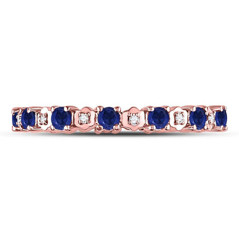 10kt Rose Gold Round Blue Sapphire Diamond Eternity Band Ring 1 Cttw