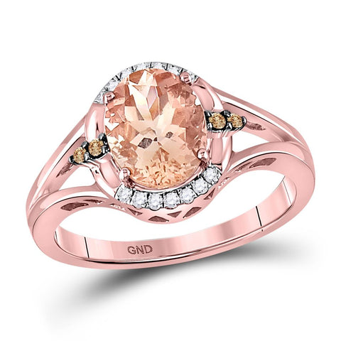 10 Karat Roségold Oval Morganit Mode Solitaire Ring 2 Cttw