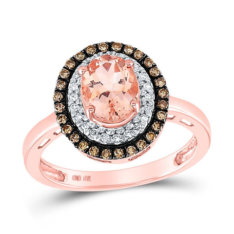 10 Karat Roségold Oval Morganit Solitaire Diamond Fashion Ring 1-1 / 2 Cttw