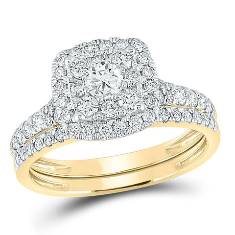 Certified 1.0 Ct. Diamond Double Halo Bridal Engagement Ring Set in 14K Yellow Gold
