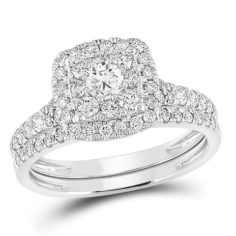 Certified 1.0 Ct. Diamond Double Halo Bridal Engagement Ring Set in 14K White Gold