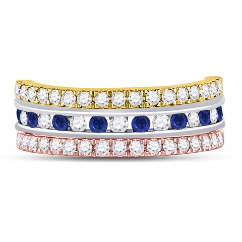 10k Tri-Tone Gold Round Blue Sapphire Convertible Band Ring 1-1/4 Cttw
