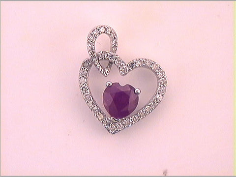 10k White Gold Heart Ruby Diamond Fashion Pendant 3/4 Cttw