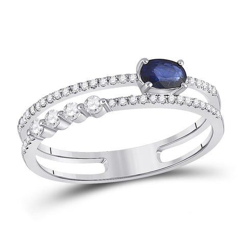 14k White Gold Oval Blue Sapphire Modern Fashion Ring 5/8 Cttw