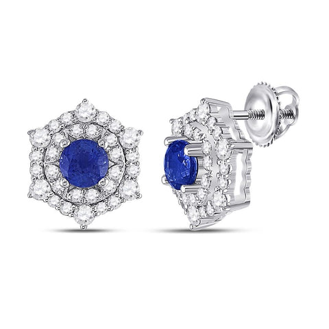 14k White Gold Round Blue Sapphire Diamond Halo Earrings 1-1/4 Cttw