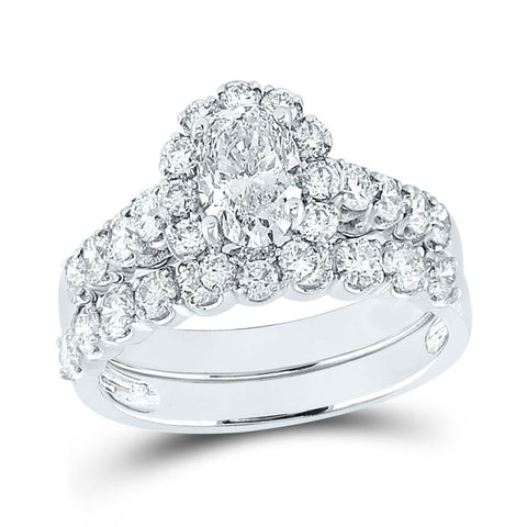 Certified 2.0 Ct. Oval Diamond Infinity Halo Style Bridal Engagement Ring Set in 14K White Gold