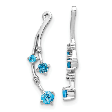 14 Karat Weißgold Diamant und Blue Topaz Dangle Ohrring Jacken