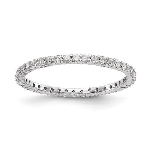 1/2ct Natural Diamond Wedding Ring Womens Stackable Eternity Band 14k White Gold