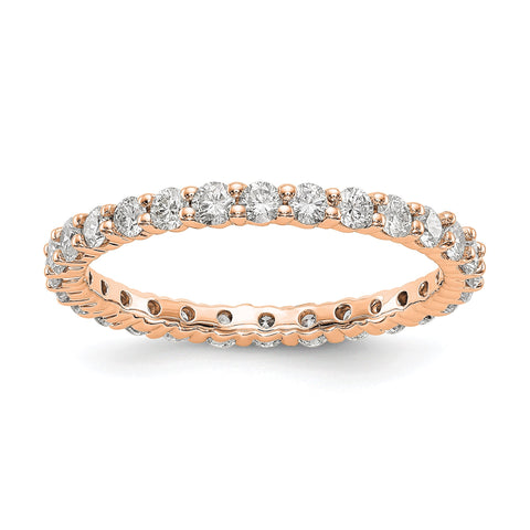 14k Rose Gold Polished shared Prong 1ct Diamond Eternity Band