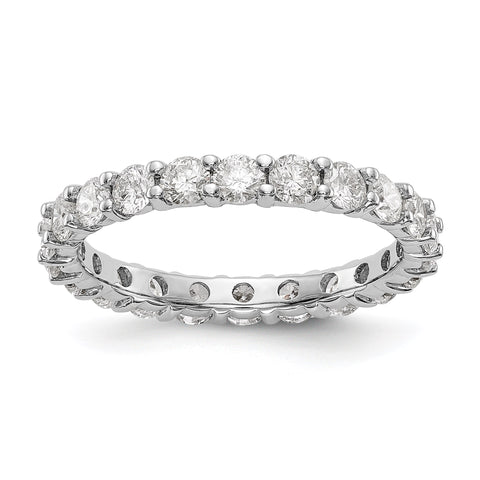 14k White Gold Polished Shared Prong 2ct Diamond Eternity Band