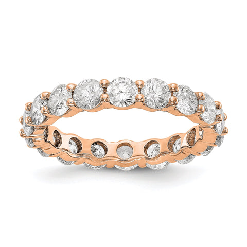 14k Rose Gold Polished Shared Prong 3ct Diamond Eternity Band