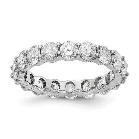 14k White Gold Polished Shared Prong 4ct Diamond Eternity Band