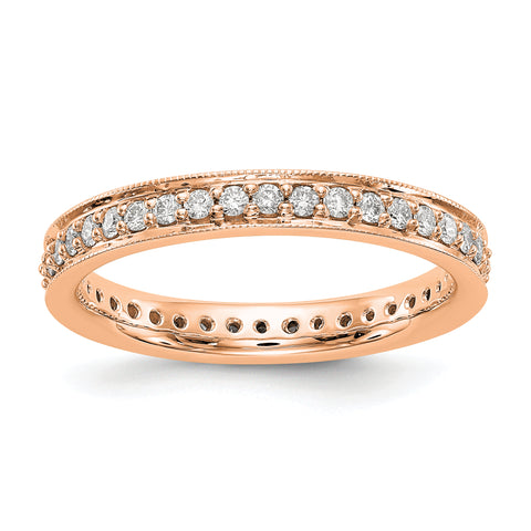 14k Rose Gold Polished Round 1/2 CT Vintage Diamond Eternity Band