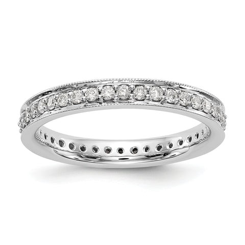 1/2 CT Natural Diamond Antique Vintage Style Diamond Eternity Band in 14k White Gold